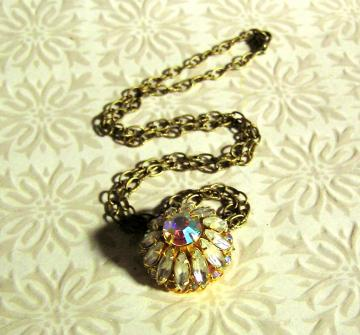 Vintage Aurora Borealis Rhinestone Button Necklace