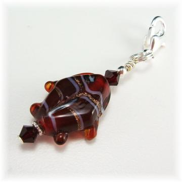 Garnet Glass Fish Charm Zipper Pull