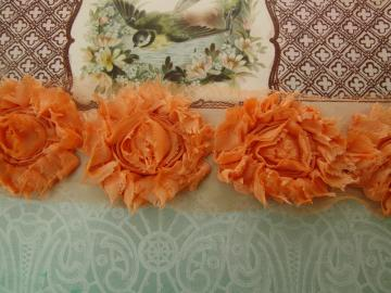 New! Shabby Chic tangerine orange flowers trim