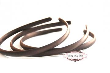 1pc Espresso Satin Covered Headband - Add Hair Flowers, Embellishments, Bows, Feathers..WHATEVER!