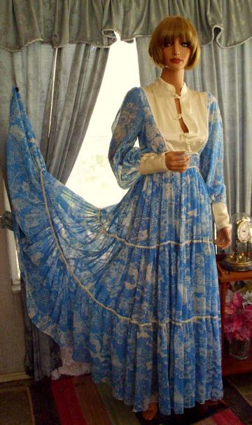 "Gunne Sax Dress Oriental Accents & 300"" Sweep Size 13!"