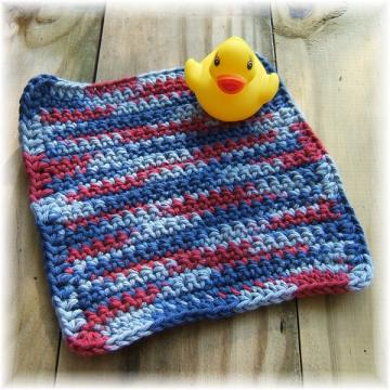 Red and Blue Crocheted Wash Cloth