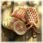 Yellow and Orange Crocheted Bath Set