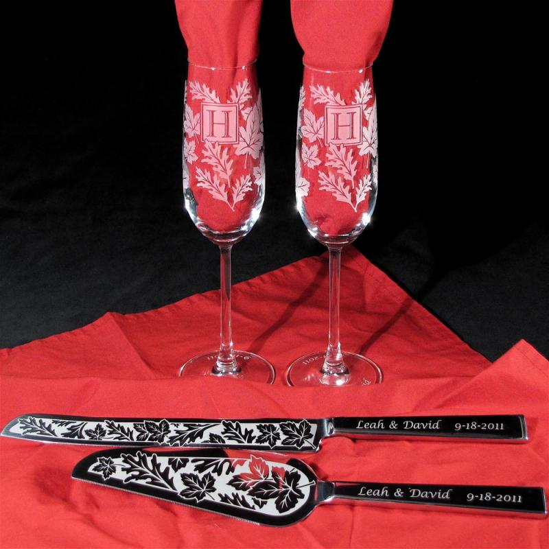 NEW Fall Wedding Champagne Glasses Cake Knife Server Set Enlarge Image
