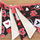 Flag Bunting, Pennant - hearts, love, mini