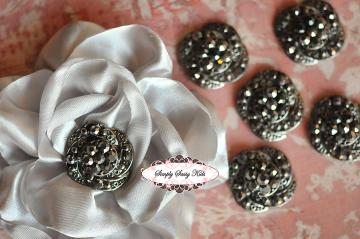 RD54 ONYX RHINESTONE Embellishment Buttons - Add to flowers, invitations, frames, accessories ~ WHERE EVER!