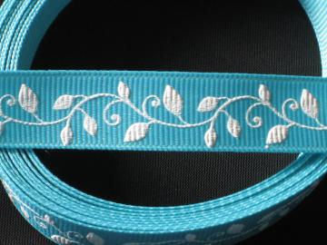 Blue Grosgrain Ribbon with White Leaves and Vines