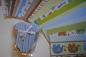 "Onesie Chipboard with ""Baby Boy"" Paper"