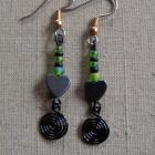 Black Kiwi Heart Earrings
