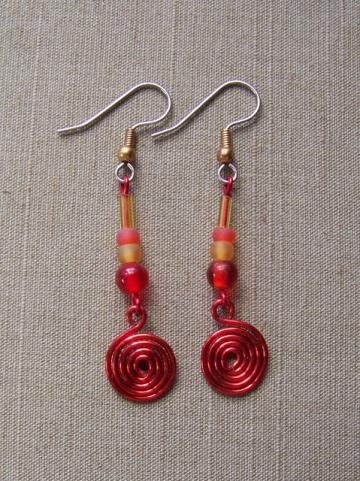 Fiery Spiral Earrings