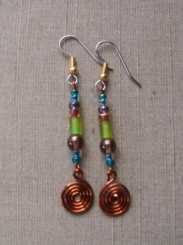 Kiwi Brown Spiral Earrings
