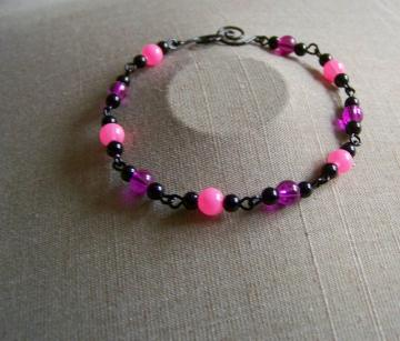Purple/Pink and Black Bead Chain Bracelet