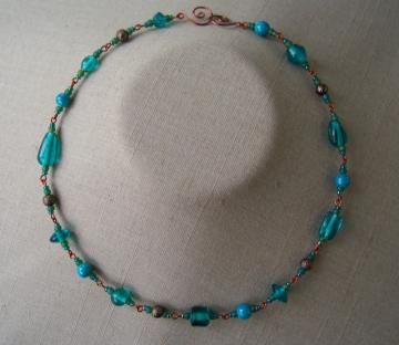 Blue/Green Bead Chain Necklace