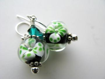Luck of the Irish Earrings - Shamrock Artisan Lampwork Emerald Swarovski Crystal Sterling Silver