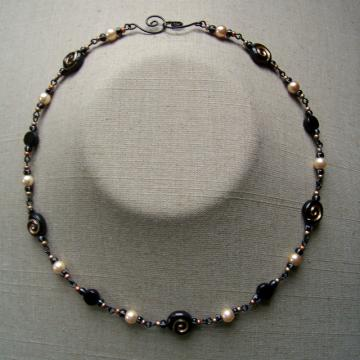 Black Spiral and Pearl Bead Chain Necklace