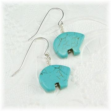 Turquoise Howlite Bear Dangle Earrings