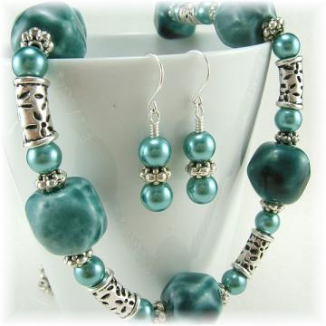 Teal Ceramic Bead and Glass Pearl Jewelry Set