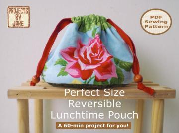 A 60-min PDF Bag Sewing Pattern And Tutorial - Perfect Size Reversible Lunchtime Pouch