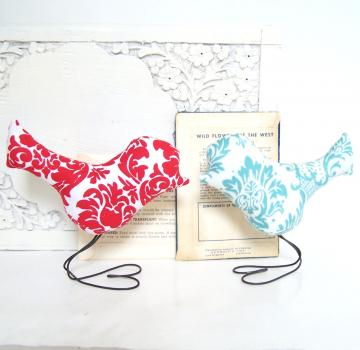 Love Bird Wedding Cake Toppers in Modern Red and Aqua Blue Damask