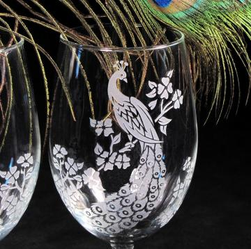 Etched Glass Peacock Wine Glasses, Set of Two