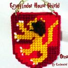 Gryffindor House Shield Ornament- hand stitched