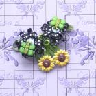 Black Hair Clips Ribbon Loop Flower and Sunflower Hair Snap Clip Vanessa's Blossoms & Butterflies Colletion
