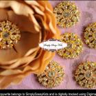 RD65 Gold Rhinestone Crystal Clear Embellishment Buttons - Add to flowers, invitations, frames, accessories ~ WHERE EVER! 