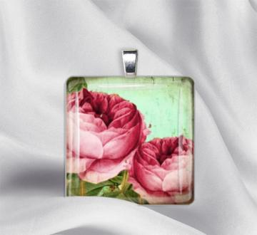 Pink Cabbage Roses Glass Tile Pendant