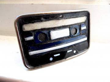 The Blues Cassette Tape Belt Buckle - Recycled License Plates - CUSTOMIZE ME
