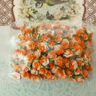 Mulberry Paper Flowers in two tone white&amp;tangerine