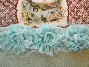 New! Shabby Chic sea blue flowers trim