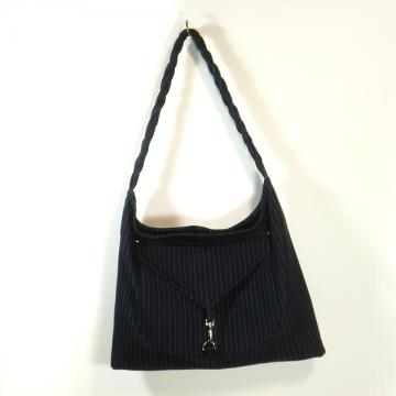 Hobo Shoulder Bag  - Gray pinstripe denim with braided strap.