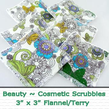 Beauty Wipes- Set of 6 Flannel/Terry Cloth