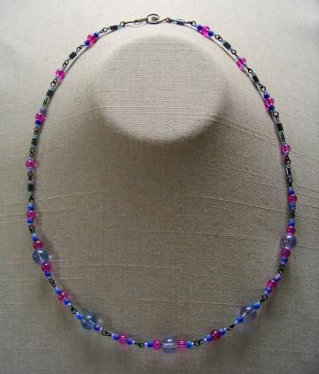 Blue/Purple and Black Necklace