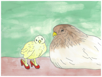 Amelia and Her Mom - Birds in Heels - Postcard