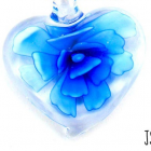 Handmade Heart with Bright Royal Blue Flower Glass Lampwork