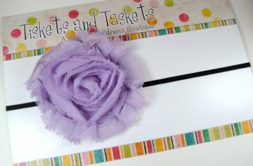 NEW Pretty Avery Lavendar Shabby Chic Chiffon Flower Rosette on Super Skinny Stretch Headband - Newborn Baby Infant Toddler Teens Adults Photo Prop SALE