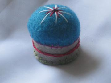 Bottle Cap Pincushion - Blue and Beige