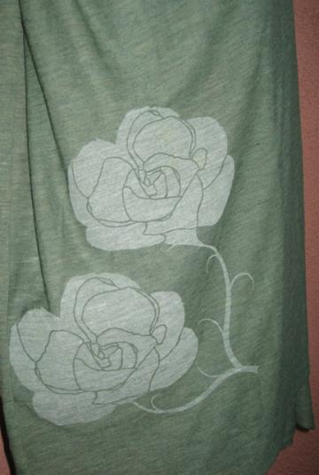 Green Heather Burn-Out Scarf with Rose Print