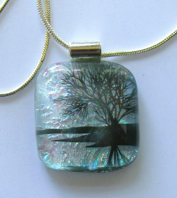 Silver Morning Fused Glass Pendant Sterling Chain