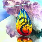hand painted Fire dragon wood pendant with silver bail sky blue steel neckwire