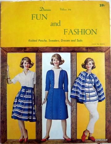 Fun and Fashion, Knitted Poncho, Sweaters, Dresses and Suits Vintage pattern Book