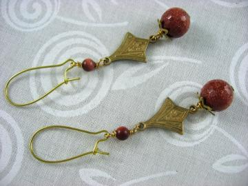 Brown Goldstone and Brass Earrings