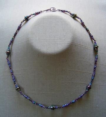 Purple Grey Iris Necklace