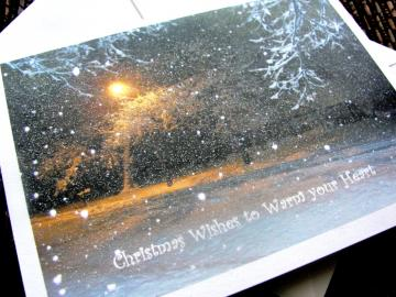 Snowy Night Christmas Card set with glitter