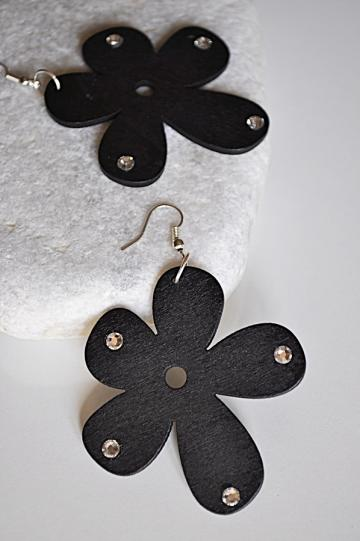 Large Wooden Flower Sparkling Crystal Rhinestone Earrings