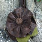 Round Leather Wristlet with Leather Ruffle Flower- Brown Suede