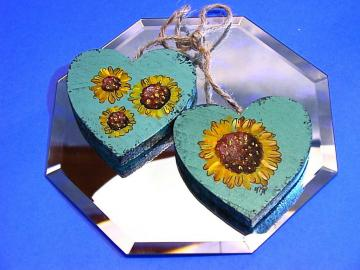 Country Shabby Chic painted Sunflower double heart ornament