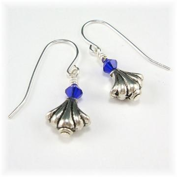 Silver Shell and Sapphire Crystal Dangle Earrings