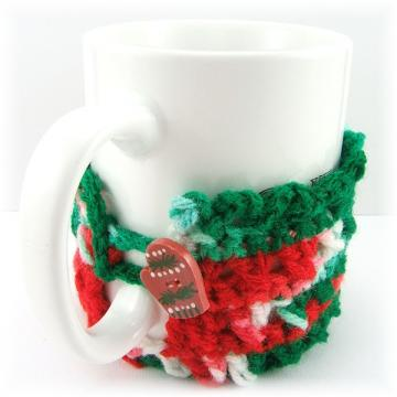 Mitten Button Crocheted Christmas Mug Cozy